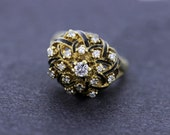 14K Gold and Black Enamel Lattice Ring with Prong set Diamonds
