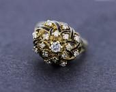 14K Gold and Black Enamel Lattice Ring with Prong set Diamonds
