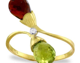2.52 Ct 14k Solid Gold Ring Diamond Briolette Garnet, Citrine (Yellow, White Gold, Rose Gold )