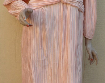 Spring/Summer Clearance Day Sale / Peach Pleated  80s Open Back Party Dress by Nordstrom  // Designer Dress