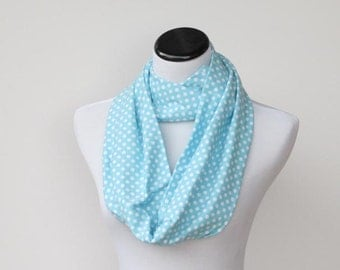 SALE 35% OFF Infinity scarf light blue white polka dots scarf - circle scarf loop scarf gift idea for her - gift for mom gift for girl