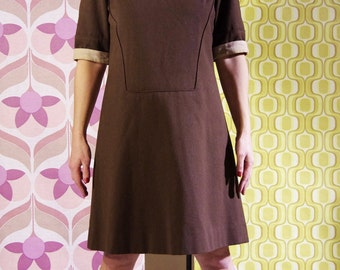 Vintage 60s mod wool and velvet dress-brown tone on tone S M