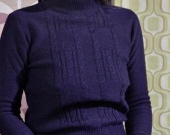 Vintage 60s wooly blue turtleneck sweater size S