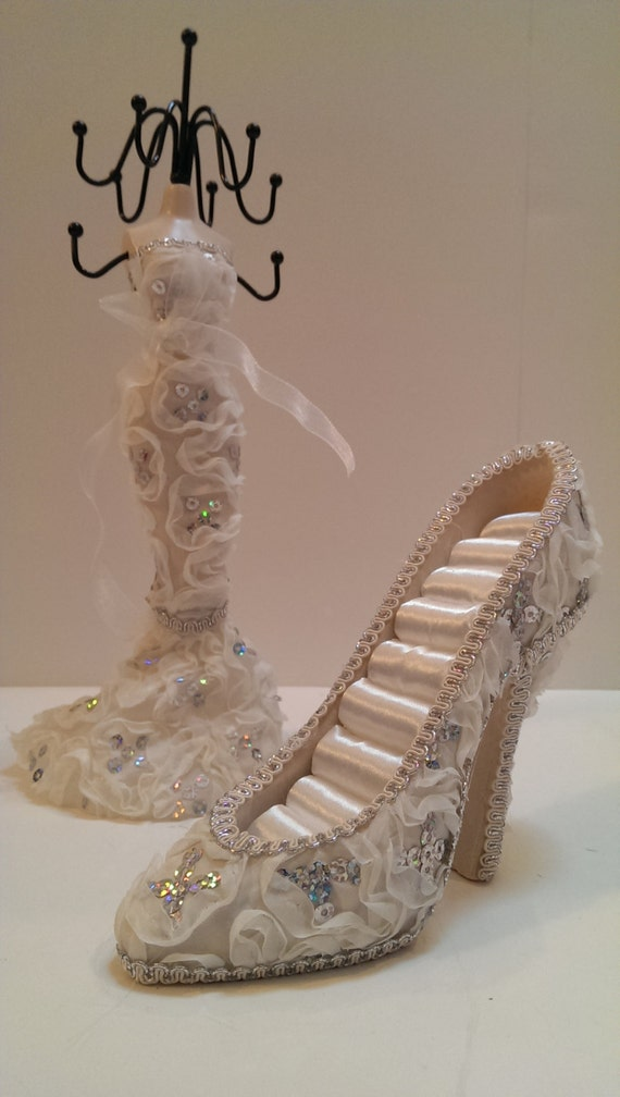 high heel shoe ring holder jewelry stand fancy ivory