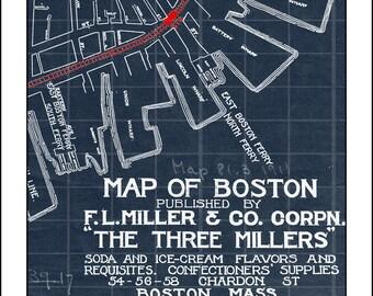 Map of Boston, Massachusetts., Blueprint Map, Boston Map, Vintage Map, Boston City Map, Boston, Massachusetts
