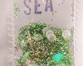 Sea Green Glitter Pocket  for your Project Life, Mini-Album or Gift Tag