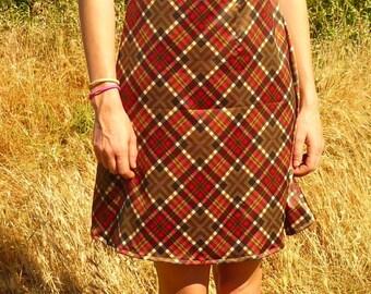Sleeveless silk argyle dress