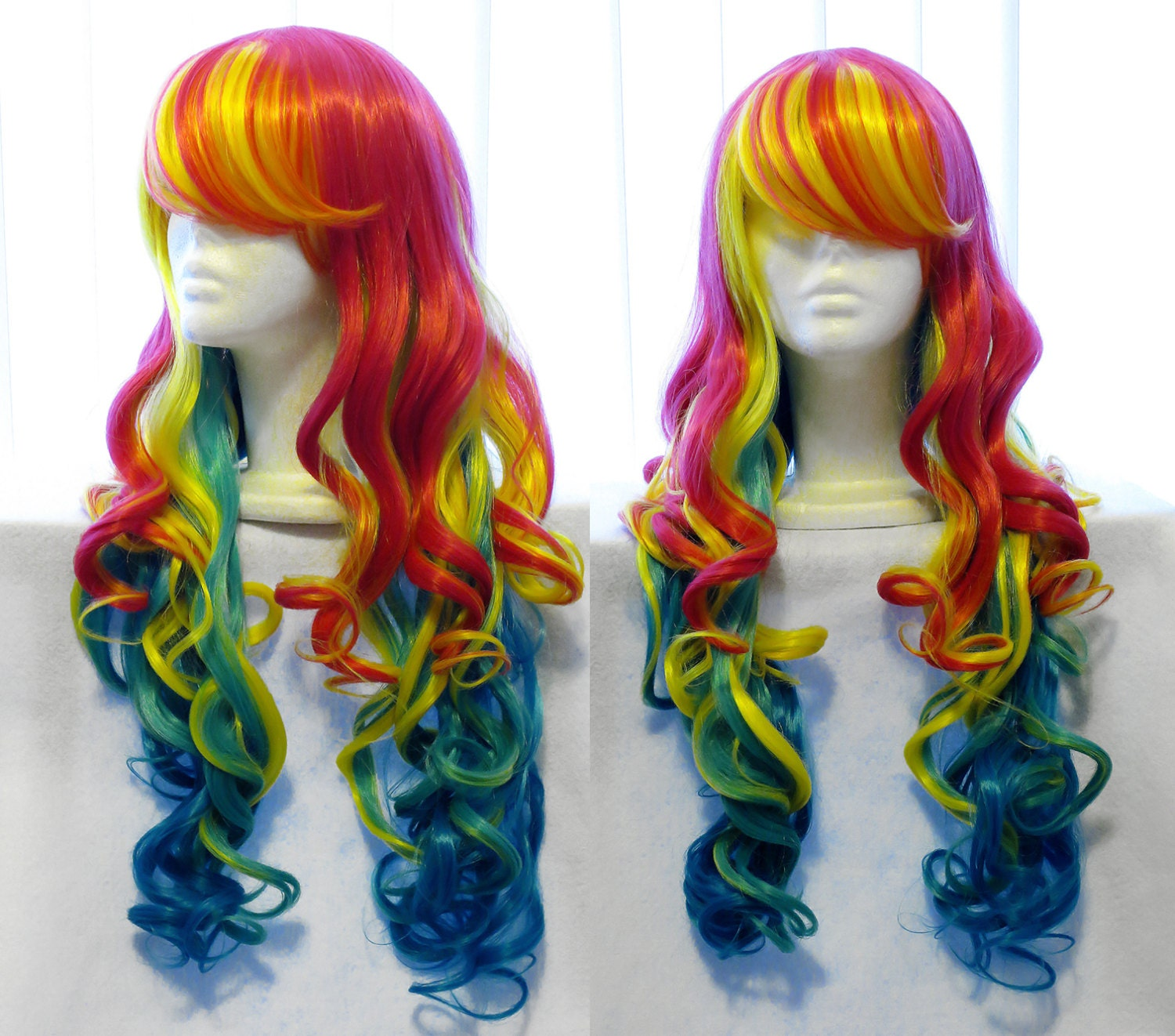 Bright Colorful Rainbow Wig Gradient Rainbow By Colorbeastwigs