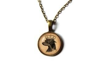 Dog pendant Vintage style Art necklace Animal jewelry NW21