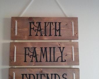 Faith Family Friends Rustic Wood Sign