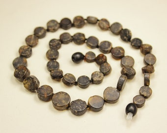 Raw black Baltic amber necklace