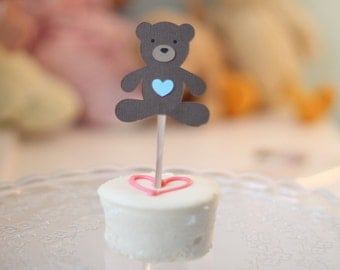 Teddy Bear Cupcake Toppers with Blue Hearts - Set of 12