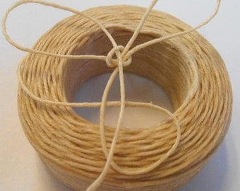 45 yd 3 ply WAXED Linen - NATURAL Bead Cord - Thread  .4mm dia