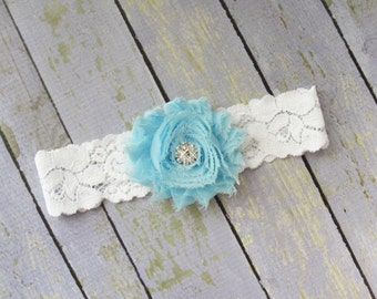 Something Blue Garter, Bridal Garter, Wedding Garter, Toss Keepsake, Single Garter, Blue Wedding, White Lace