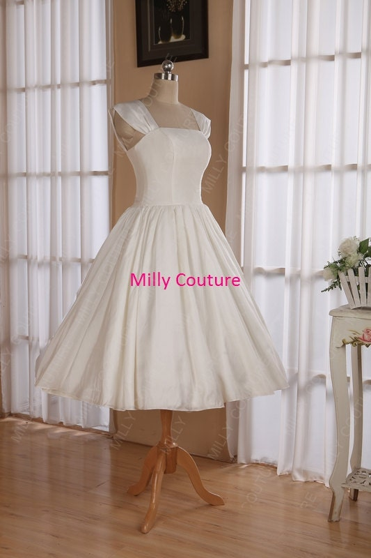 Cap Sleeves 1950s Pin Up Wedding Dress Tea Length By MillyCouture