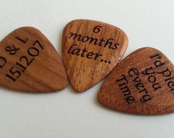 Custom/Personalised  Engraved Wooden Guitar Plectrum. Supplied with free Gift box. Free Shipping to UK.
