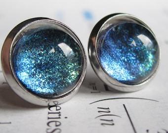 Current - Earring studs - science jewelry - science earring - galaxy jewelry - physics earrings - fake plugs - plug earrings - nebula stud