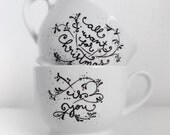 Custom Coffee/Tea Mugs (set of 2) - Personalized with Quotes, Names, Initials or Messages