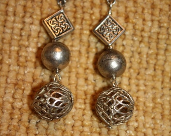 Aztec treasure silver plated dangle earring