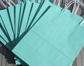 20 Pack-Turquoise Gift Bags with Handle 8x4x10