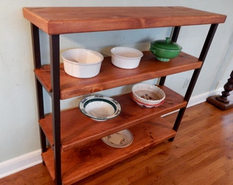 Handcrafted Wrought Iron Bakers Rack with 4 Wood Shelves for Storage