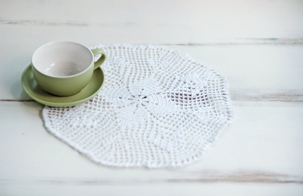 Small Crocheted Tablecloth Round Doily House Decor by byPRAVDA