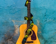 Leather guitar strap, Acoustic guitar strap, Green guitar strap, Folk Bluegrass Flamenco guitar, Gift guitarist - Peacock Green PRG2