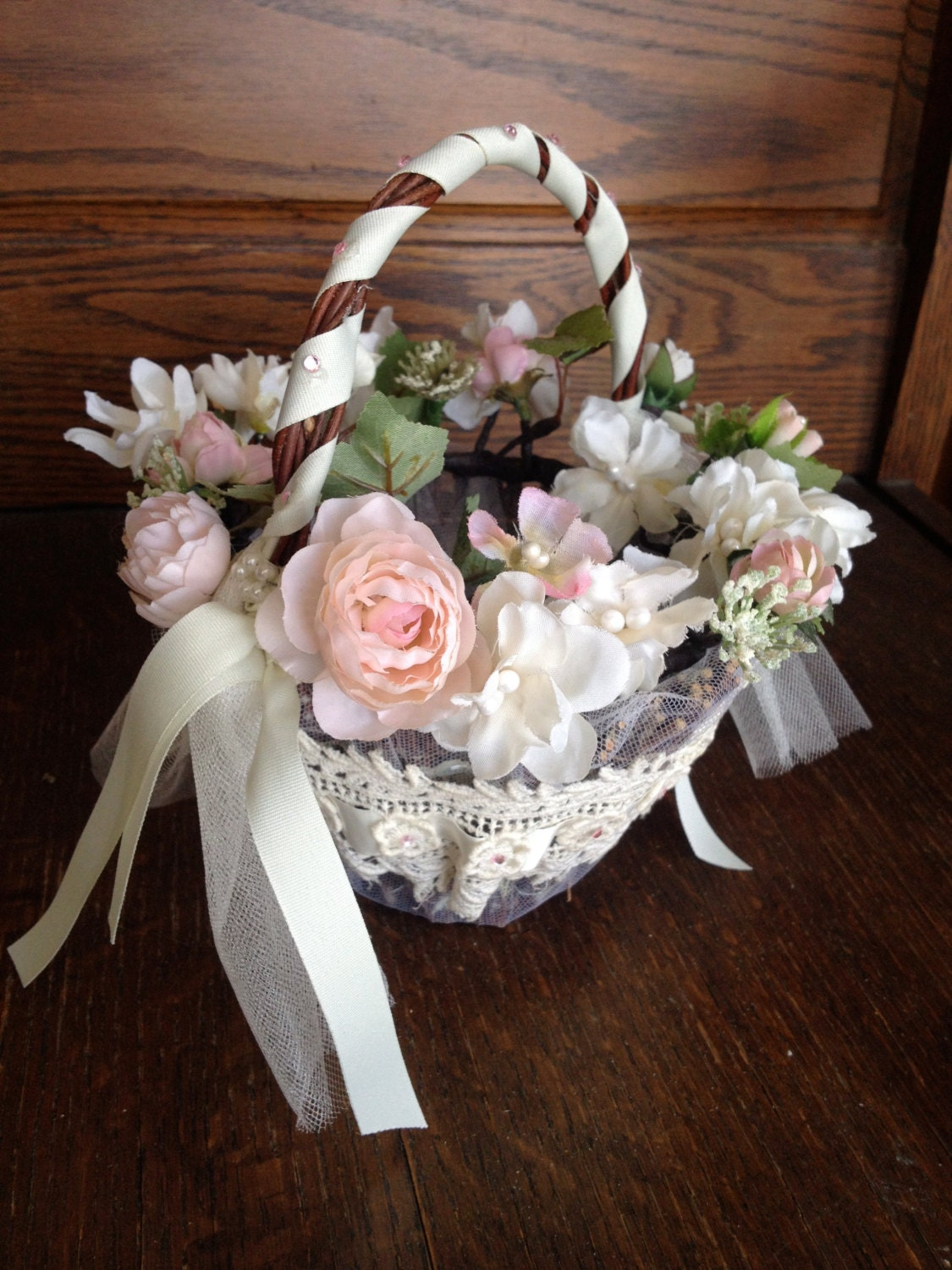 How To Make A Lace Flower Girl Basket : Victorian lace flower girl basket