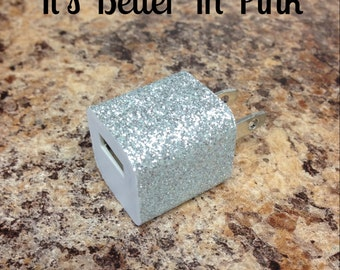 Silver Glitter USB Wall Charger
