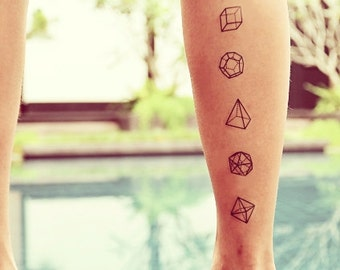 Polyhedron Geometry Temporary Tattoo (Set of 5)