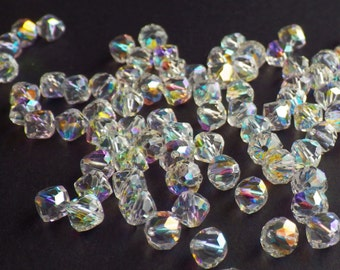 Rare Vintage Swarovski Crystal Beads, Article 5309/1, 6mm Crystal Beads With Aurore Boreale Finish, 20 Vintage Crystal Beads
