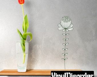 Floral Flower Wall Decal - Wall Fabric - Vinyl Decal - Removable and Reusable - FloralFlowerUScolor020ET