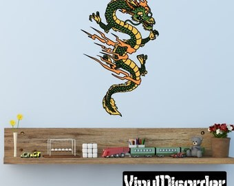 Japanese Dragon Wall Decal - Wall Fabric - Vinyl Decal - Removable and Reusable - ...