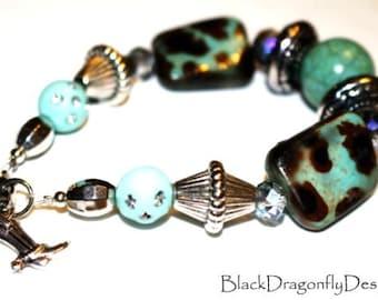 Turquoise Leopard Print Bracelet