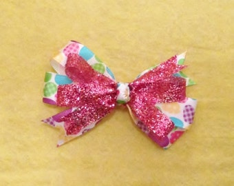 Easter Egg Pinwheel Stacked Boutique Hair Bow - Sparkly Pink Easter Egg Pinwheel Stacked Boutique Hair Bow