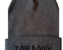 BOW DOWN Cuffed Beanie  Cap Hip Hop Hat Gray/Black
