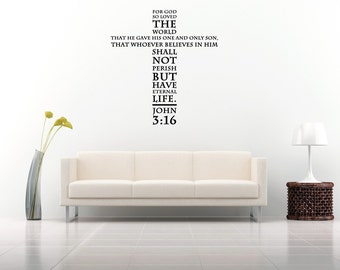 Wall decal vinyle autocollant stickers art decor design croix j sus christ dieu john 03 16 par - Stickers ecriture chambre ...