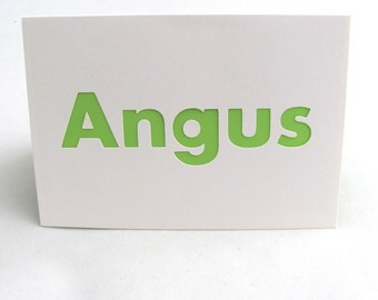 Angus, Boys Birthday Card, Male Name Card, Personalized Name Card, Angus Card