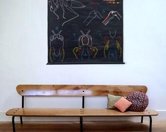 Schoolboy vintage oak bench