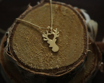 Antlers Necklace, Stagheag Pendant, Woodland Jewelry,Silver Stag Necklace,Eco Friendly Jewelry,Twig Jewelry,Nature Jewelry, silver necklace