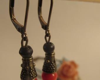 2064 - Earrings Wood, Coral
