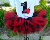 First Birthday Girl Ladybug Petti Tutu Personalized Baby Girl 1st Birthday Set Smash Cake Pictures Black Red Polka Dot