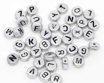LETTER V Silver alphabet beads coin-shaped 7mm