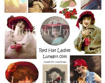 RED HAT LADIES digital collage sheet Download vintage images Victorian Edwardian altered art ephemera redhat society flappers girls hats