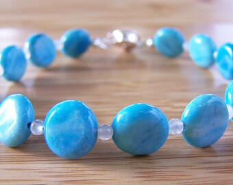 Amazonite Bracelet. Moonstone Bracelet. Blue Bracelet. Something Blue. Blue Stone Bracelet