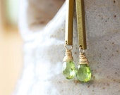 peridot earrings,  green gemstone jewelry vintage brass gold, august birthstone