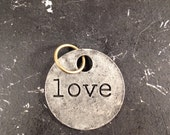 Love Metal Charm / Love Tagword / Industrial Jewelry / Jewelry Findings