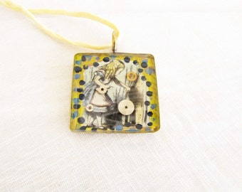Alice in Wonderland Necklace Alice Collage Resin Jewelry Painted Steampunk Pendant Necklace Yellow Ribbon #13