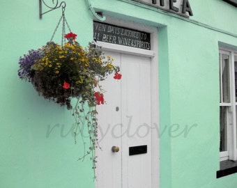 O'SHEA Spirits, Ring of KERRY, Quaint Village, Colorful Shop Front in IRELAND, Charming Street Scene, Irish Pub, Mint Green, Country Decor
