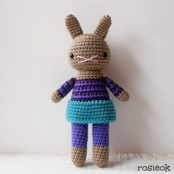 Amigurumi Bunny Girl : Items similar to bridget .. stuffed plushie rabbit doll ...
